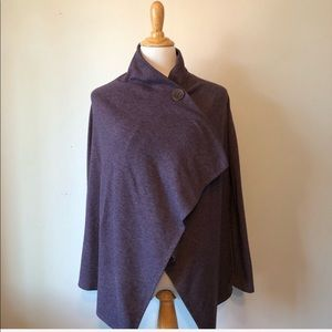 NORDSTROM-BOBEAU-Purple Wrap Cardigan Top-XS